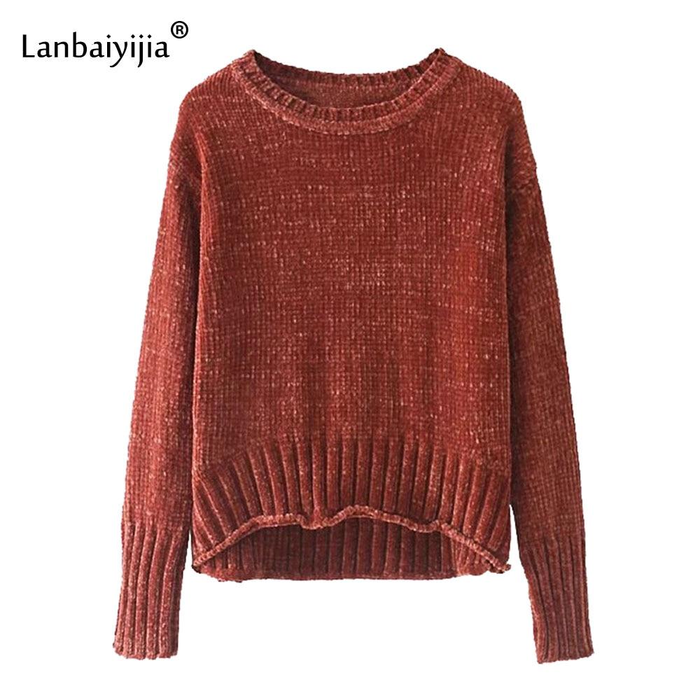 Lanbaiyijia date automne femmes pulls pulls o-cou à manches longues solide avant court dos longue femme tricoté pull 8 couleurs