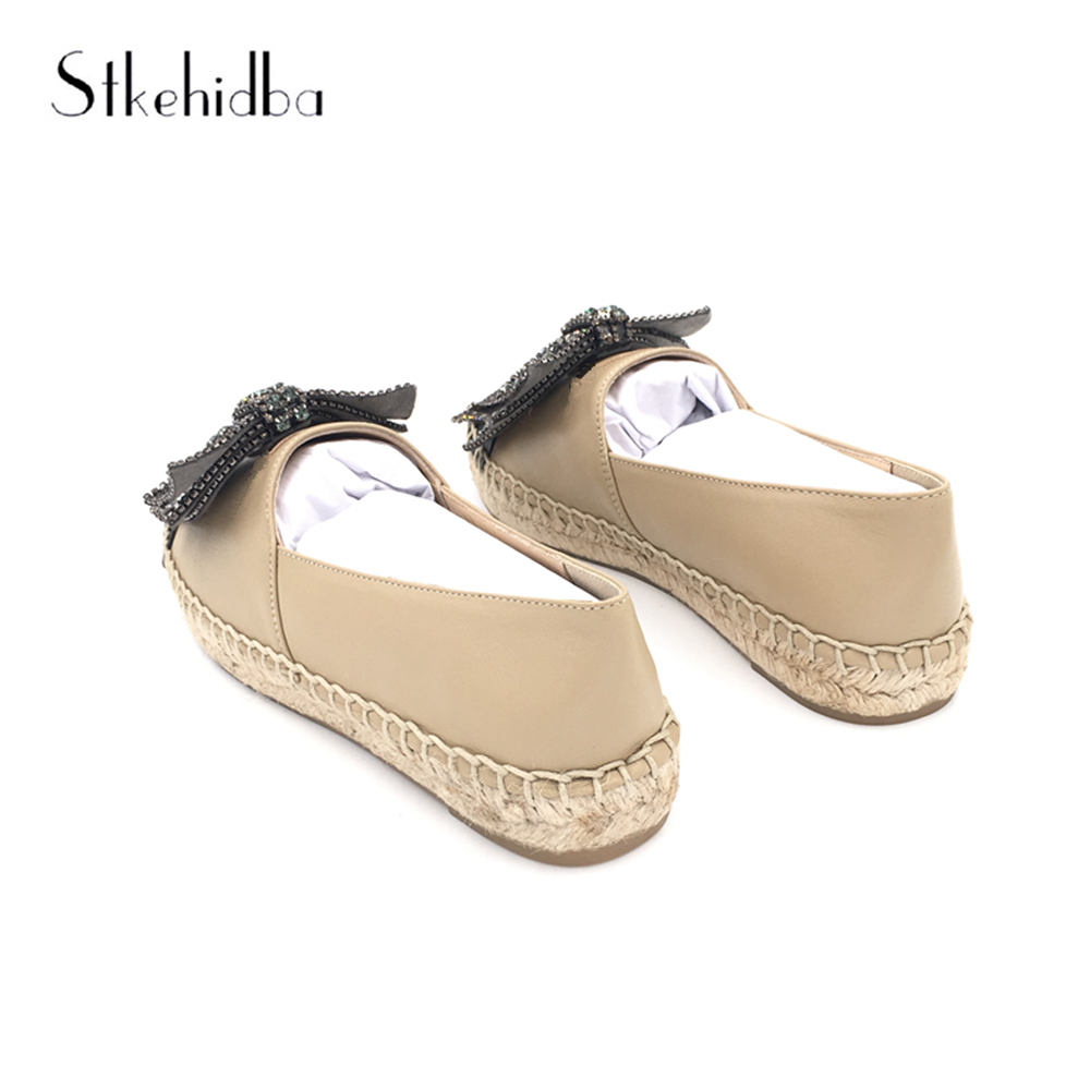 Stkehidba Women Flats Genuine Leather Shoes Woman Slip On Loafers Woman Platform Flat Shoes Black Nude Espadrilles Women Flats-in Women's Flats from Shoes    3
