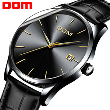 Watch Men DOM Top Brand Luxury Quartz Casual Quartz-Watch Leather Mesh Strap Ultra thin Clock male Relog M-11BL-1M