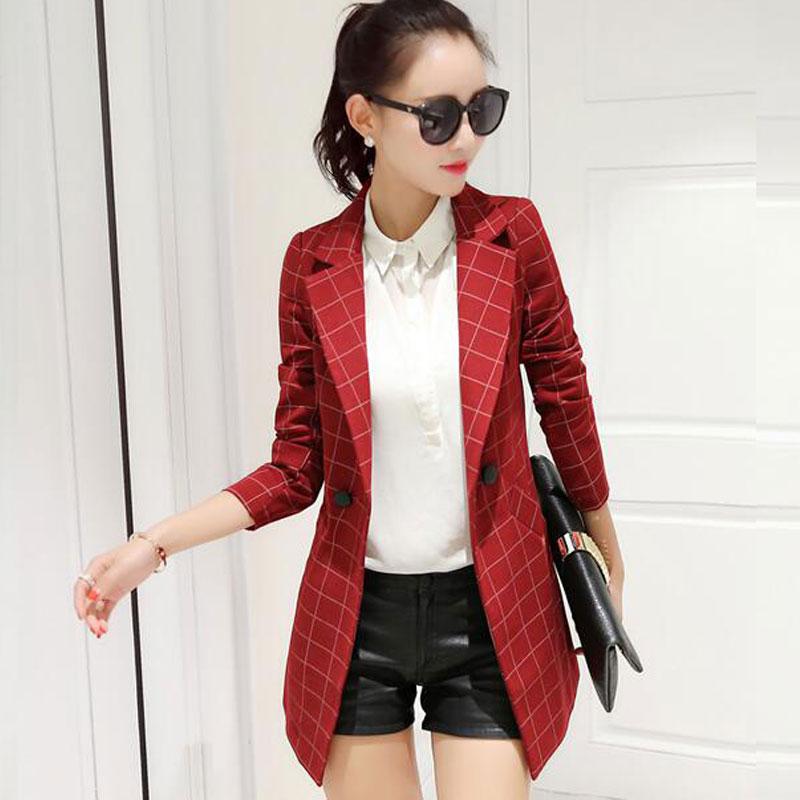Plus Size Plaid Women Blazer 2019 Spring Autumn Medium-long Suit Blazer Outerwear Fashion Long Sleeve Women Blazers And Jackets