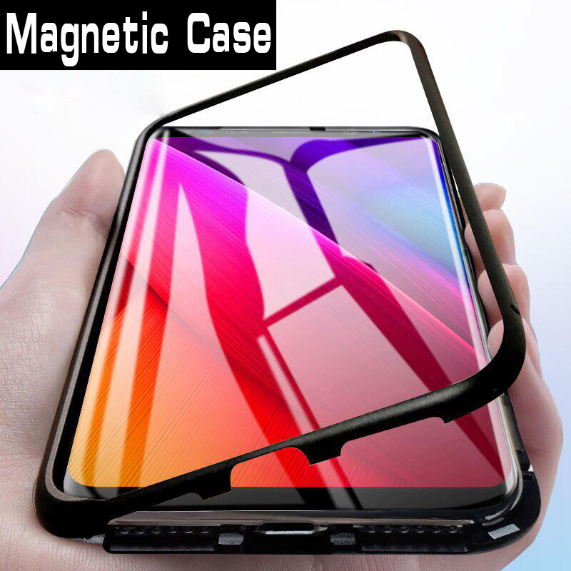 Magnetic Adsorption Metal Case For Oneplus 7 Pro Case Tempered Glass Back Case For Oneplus 6T 6 5T Phone  Case Cover