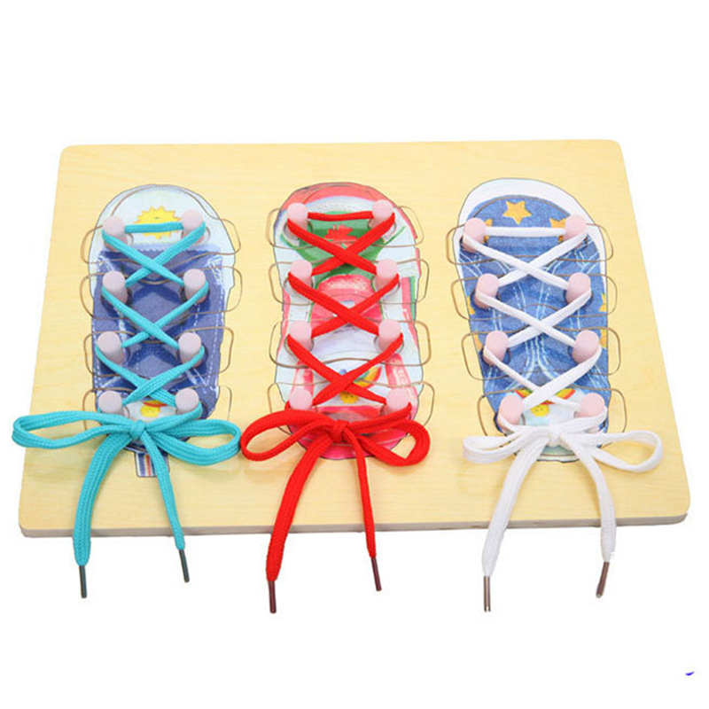 Toys for children Montessori New Arrival Wooden Toys 30*22cm High Quality Children Learn Tie Shoes Learning & Education Toys the quality of accreditation standards for distance learning