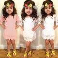 2016 Caliente-venta de 1 unids Bebé Niños Niñas Princesa Vestidos de Media Manga Del Cordón Ahueca Hacia Fuera el Vestido de Boda Del Partido