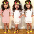 2016 Hot-selling 1pcs Baby Kid Girls Princess Lace Hollow Out Party Wedding Dress Half Sleeve Dresses