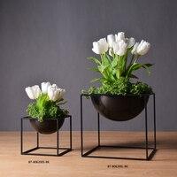 Miễn phí Vận Chuyển Hot Bán Creative Thiết Kế Đơn Giản Quảng Trường Kim Loại Flower Vase Tabletop Vase in Black cho Trang Trí Nội Thất Trang Trí Đám Cưới