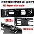 16 LED de 120 grados de amplio ángulo de cámara de visión trasera cámara posterior de la UE European Car license plate frame cámara de aparcamiento