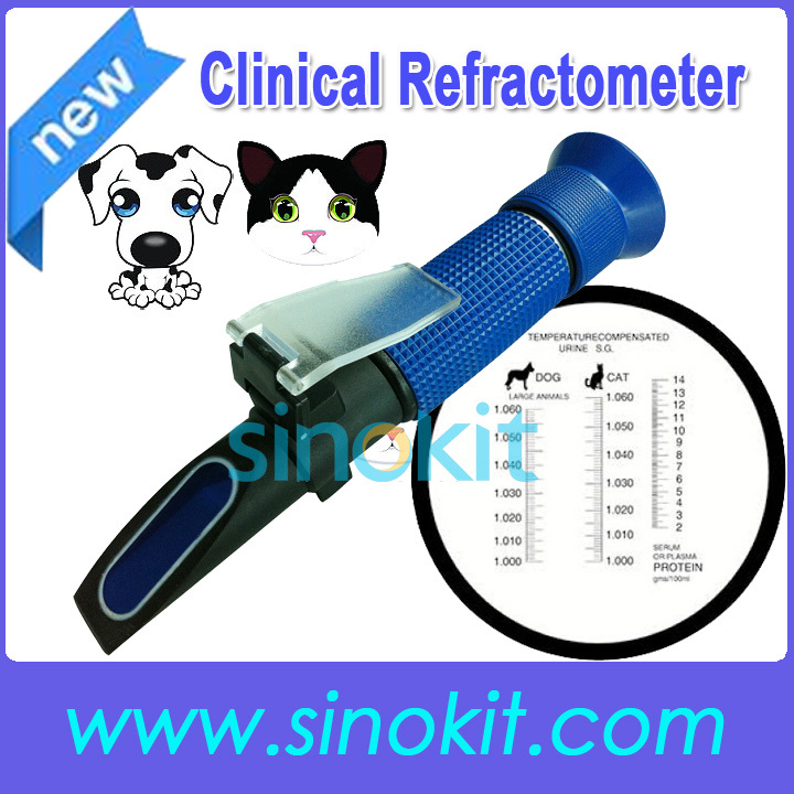 Free Shipping Veterinary and Human Dog Cat Clinical Plastic  Refractometer - P- RHC-300ATC Blue  цены