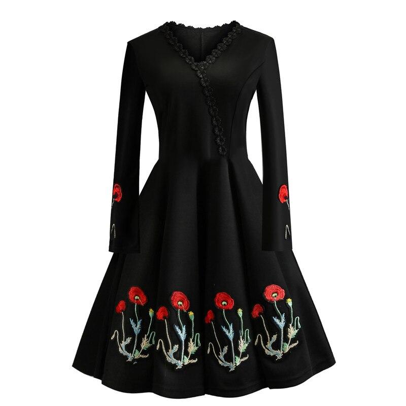 Women 50S 60S Vintage Dress Embroidery Floral Swing Rockabilly Retro Dress Party Vestidos Long Sleeves Dresses Plus Size 4XL 9