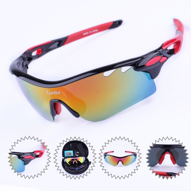 24acbef467f Carfia Outdoor Sports Bicycle Glasses Mountain Bike Sunglasses TR90 Goggles  Eyewear Polarized Cycling Sun Glasses 5 Lenses