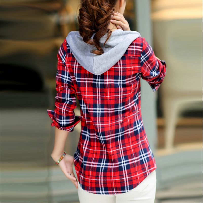 2019 Autumn Woman Striped Flannel Shirts Long Sleeve With Hoodie Brand Cotton Blouses Spring Fashion Tops Casual Female Clothing