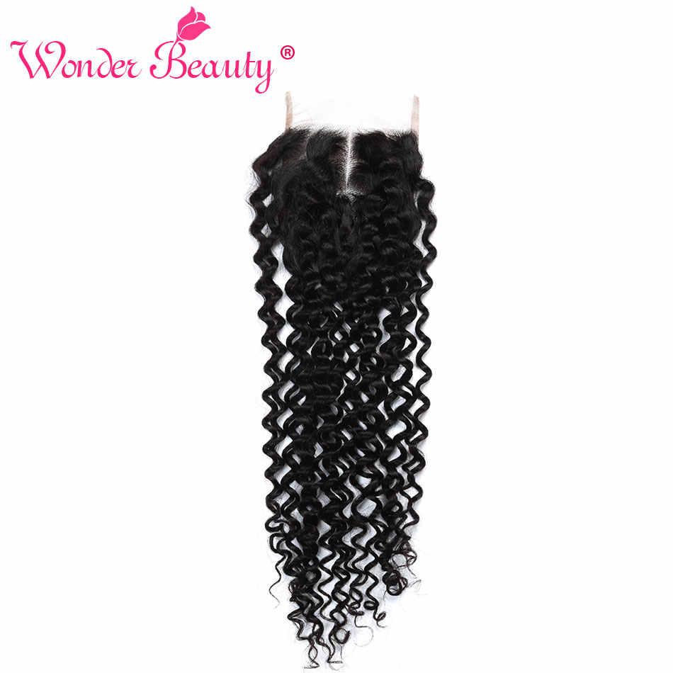 Mechones de pelo rizado malayo Afro parte 4x4 Cierre de encaje Wonder Beauty mechones de pelo no Remy 100% cierres de pelo humano