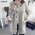 YHKGG 2016 Striped Sweater Women Baseball Uniform Cardigan V-Neck Single-Breasted Button Long Cardigan Knitted Clothing MY037