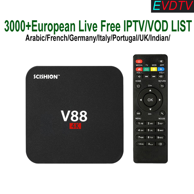 US $79 15 |V88 Smart Box TV Android RK3229 add 1 Year EVDTV Espana France  Portuguese Turkish Live TV Channels UK Italian European TV M3U-in Set-top