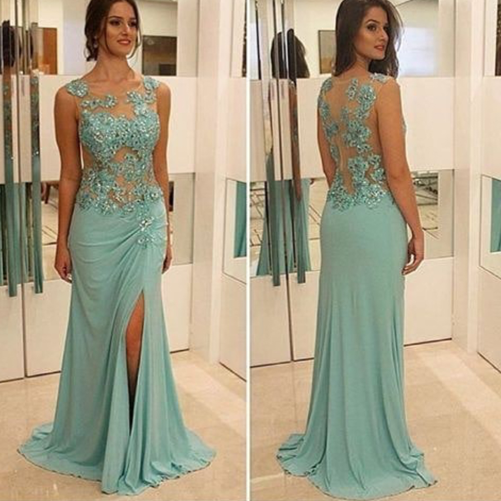 Green Prom Dresses 2020 Side Slit Chiffon Sexy Evening Dresses Crew Neckline Lace Appliques Beading Beaded Evening Gowns