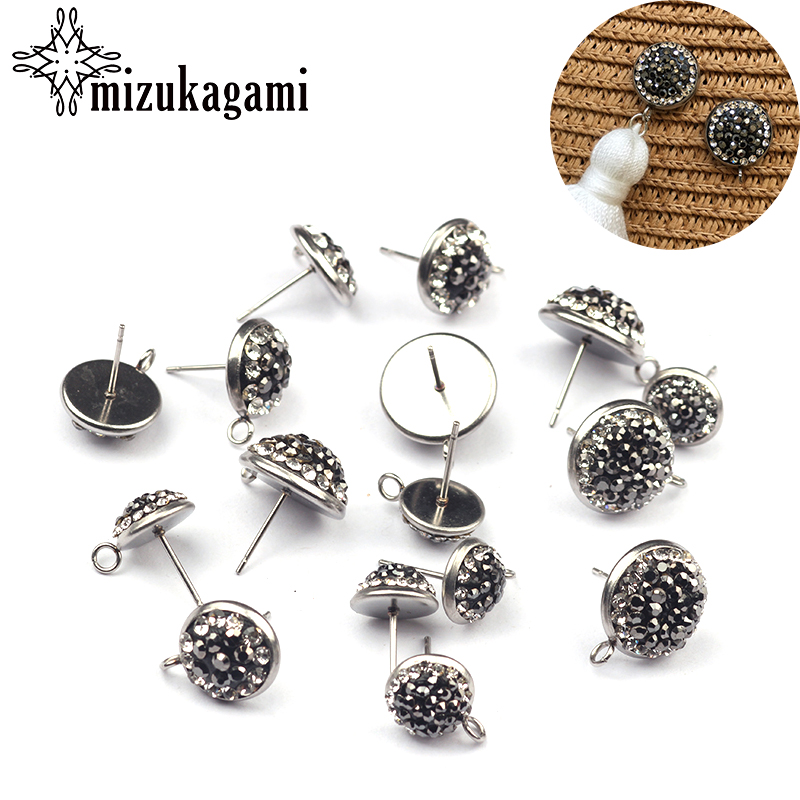6pcs/lot Fashion Round Shape Black And Crystal Metal Base Earrings Connector For DIY Earrings Making Finding Accessories