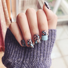 New 24 pieces Geometry peacock blue 3D DIY Fasion Style Plastic Art Short Fake false Sticker Nail Tips With Glue Gel [N3033]