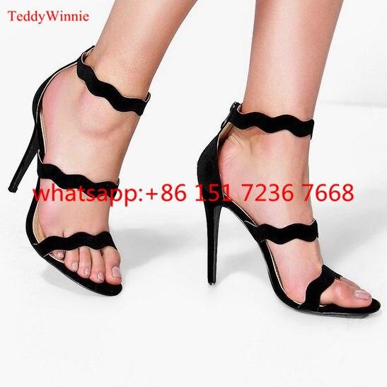 de de de de Mujeres Sandalia Zapatos Abierta Gamuza Sandalias 2017 Punta de Mujer Verano Alto de zapatos ondulado Rojos Tacones Moda Tacón Tobillo Tiras Las qUEd14Ew