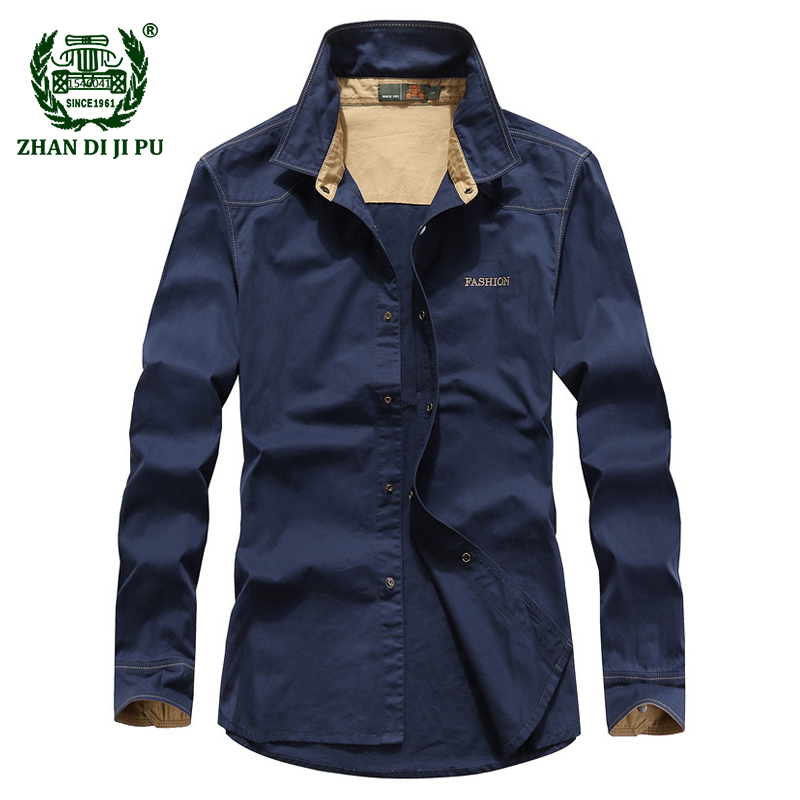Motivated 2018 Autumn Men Plus Size M-5xl Casual Brand Army Green Shirts Man Spring 100% Cotton Afs Jeep Khaki Long Sleeve Shirt Dark Blue Shirts