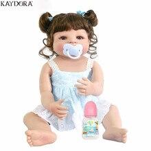 KAYDORA Reborn Baby Girl Doll Full Silicone With Curly Hairwig 55cm Bath Toys Birthday Gift Fashion Toddler Bebe Menina