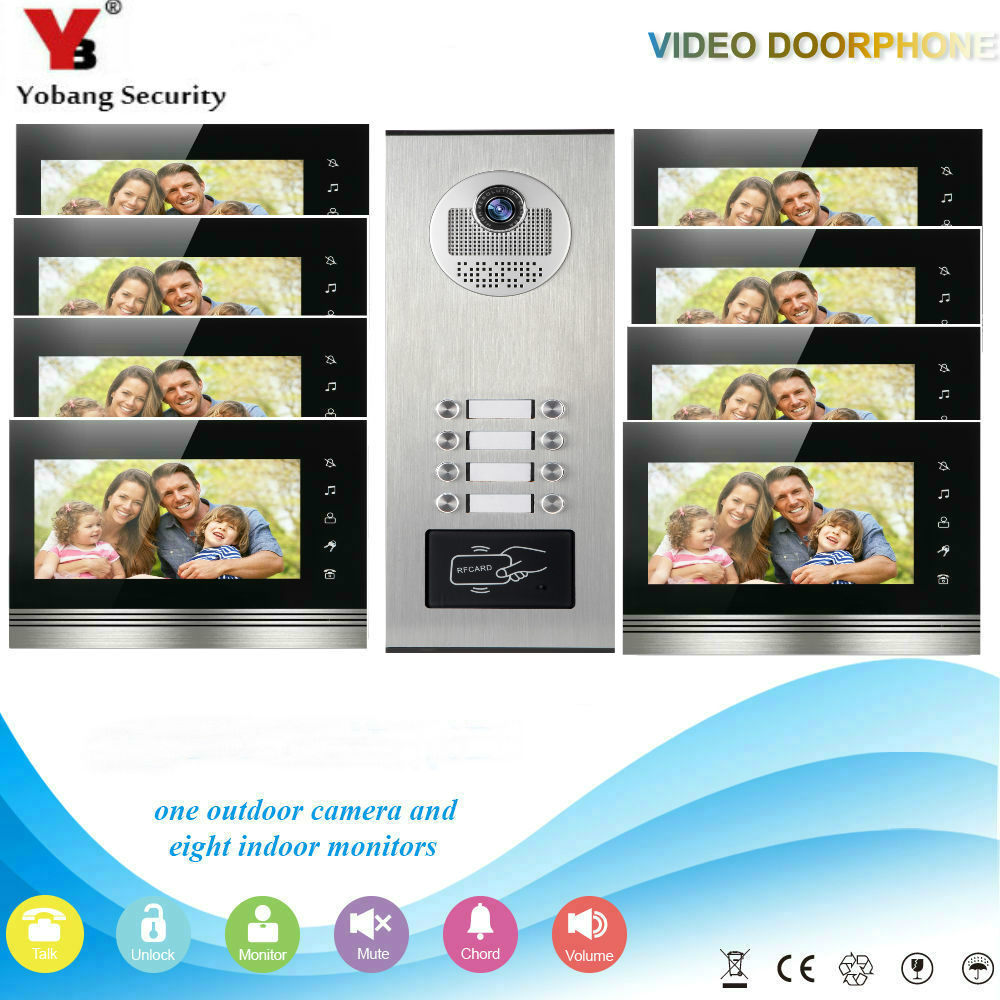 YobangSecurity 8 Units Apartment Wired Video Door Phone Intercom 7Inch Monitor IR Camera Video Doorbell RFID Access Control KIT 8 units apartment intercom system 7 inch monitor video intercom doorbell apartment intercom kit ir night version camera
