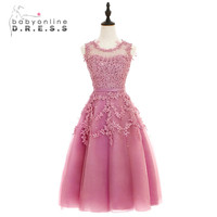 Babyonline Dust Pink Tea Length Lace Applique Cocktail Dresses 2017 Sleeveless Party Dresses Sexy Sheer Back robe de cocktail