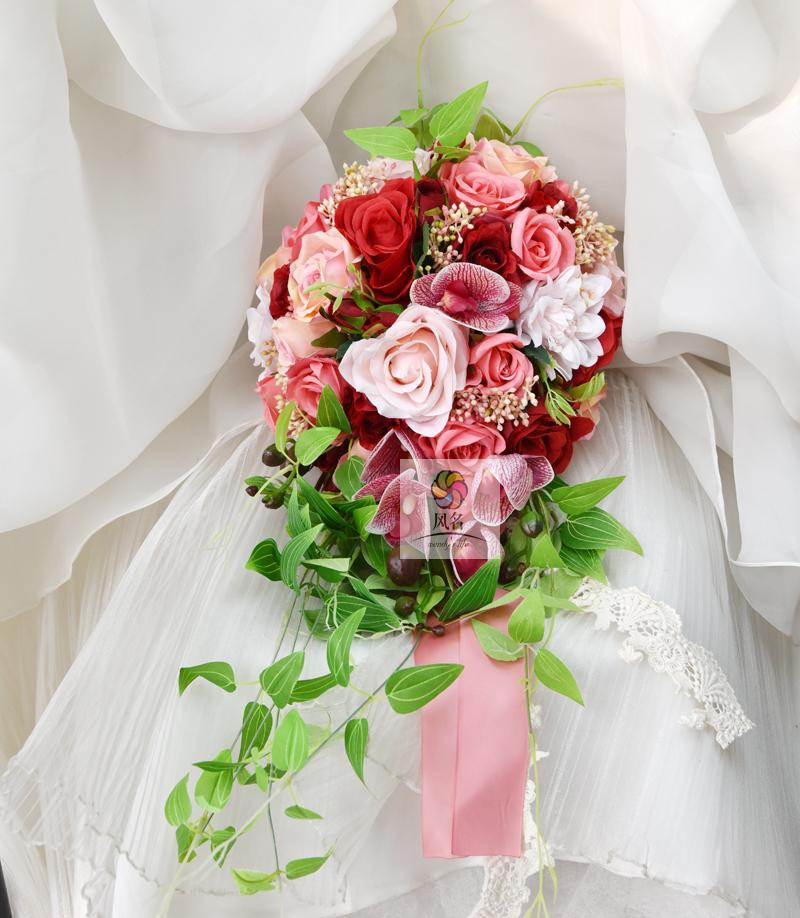 Wedding Hand Bouquet Flower: New Waterfall Style Handmade Wedding Bridal Bouquet