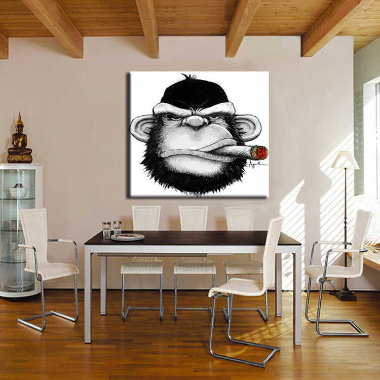 Hand Bemalt Abstrakten Wand Malerei Hängen Bild Moderne Decor Affe Ölgemälde auf Leinwand Neue Zigarre Orang-utan Tiere Malerei