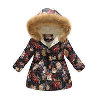 2019 New Children's Thicken Winter Coat Girls Cute Printing Warm Coats Baby Girl Cotton Cartoon Hooded Outerwear Kids Clothes