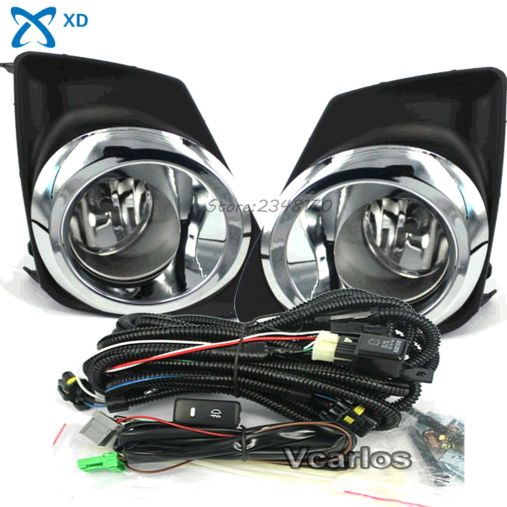 For Toyota Corolla 2011 (U.S.TYPE) Altis 2011~ON Fog lamps Light Clear Lens Pair Set With Wiring Kit With Plating Fog Lamp Frame fit for 02 08 toyota solara camry corolla oe fog light smoke lamps wiring kit included usa domestic free shipping hot selling