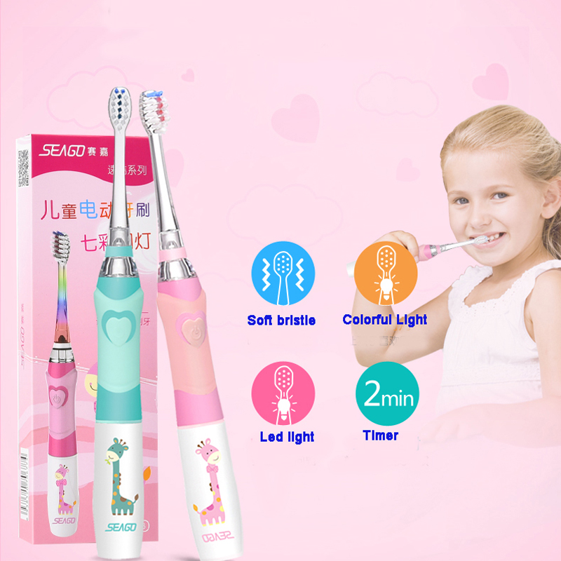 Intellective Seago Kids Sonic Electric Toothbrush Colorful Led Lighting Waterproof Soft Bristles 16000/min Smart Tooth Brush For Children Personal Care Appliances