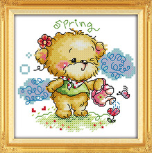 The four seasons  little bear-spring, counted printed 14CT 11CT Cross Stitch kits,embroidery needlework Sets Home Decor