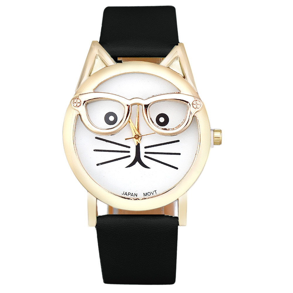 Cute Glasses Cat Women Fashion Watches Analog Quartz Leather Clock Dial Wrist Watch