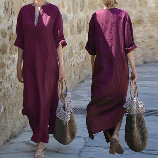 4a5387ddb9c2 Women Long Maxi Dress Cotton Linen Long Sleeve Baggy Dress Casual V Neck  Split Loose Dresses With Pocket Robe Plus Size A1
