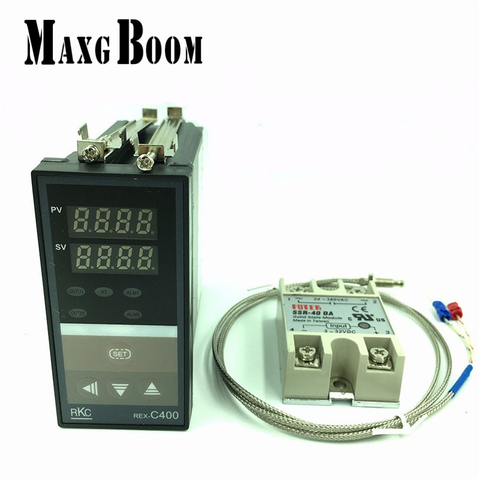 MaxgBoon RKC PID Temperature Controller Thermostat REX-C400 (SSR Output)+K type thermocouple+Max 40A SSR relay free shipping  rex c100 digital pid temperature control controller thermostat thermometer relay output
