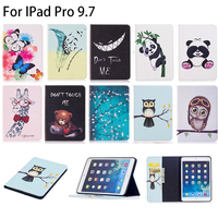 For Apple IPad Pro 9 7 Case Fashion Owl Panda Cartoon Pattern PU Leather With Card