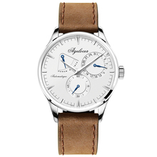 Agelocer Fashion Casual Watches for Men Analog Automatic Watches with Calendar Power Reserve Genuine Leather Strap Watches 4101A