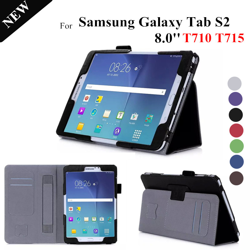 Tab S2 8.0'' Stand Leather Case For Samsung Galaxy Tab S2 8.0 T710 T715 Magnet Tablet Cover for galaxy tablet s2 8.0 t710 cases new x line soft clear tpu case gel back cover for samsung galaxy tab s2 s 2 ii sii 8 0 tablet case t715 t710 t715c silicon case