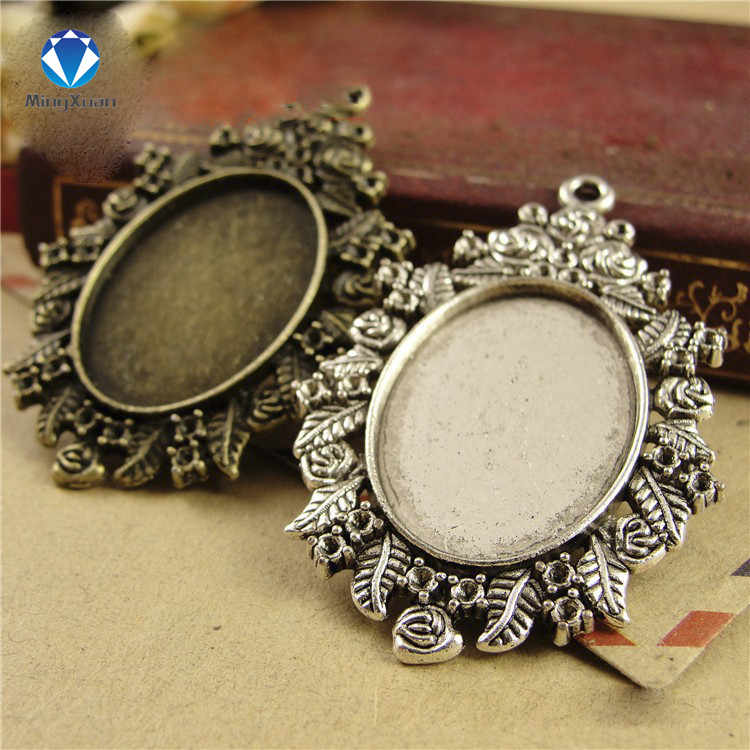 10pcs/lot antique bronzer/antique Silver filigree cameo cabochon 18*25mm base setting pendant tray