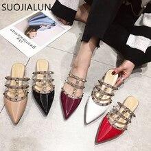 SUOJIALUN  Women Flat Slippers Slip On Mules Brand Designers 2019 Fashion Luxury Rivet T-strap Slides Loafers