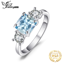 JewelryPalace Classic 2.58ct Square Natural Sky Blue Topaz & CZ Engagement Rings For Women 925 Sterling Silver Fine Jewelry 2017 цена в Москве и Питере
