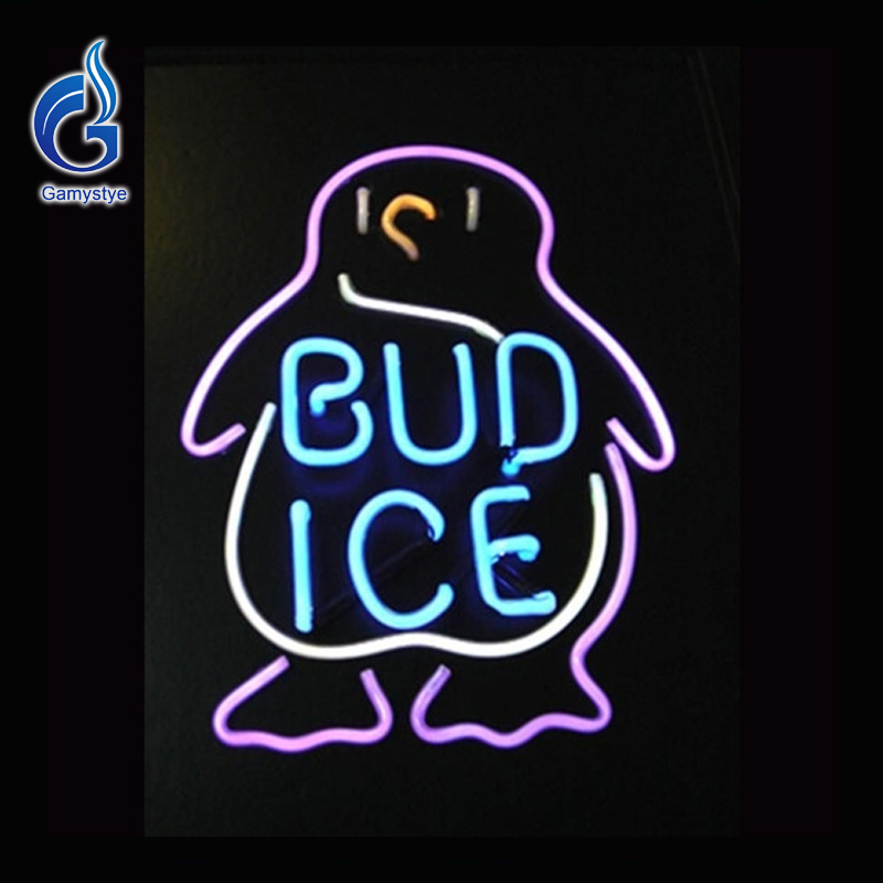 Neon Sign BUD ICE Budweiser Penguin Neon Bulb Beer Pub Neon <font><b>Light</b></font> Lamp Beer Signs Lighted Art Glass Tube Lumineuse Bar Pub 17x14