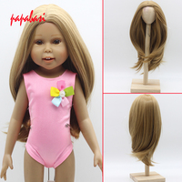 Natural Color Soft Straight Synthetic Hair Wig For 18 Inch American Girl Doll With 26cm Head