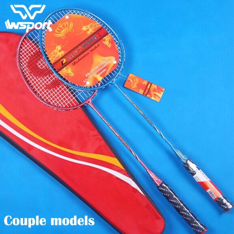JUNRUI couple models100 % D'origine Plein Badminton De Carbone Raquette Raquette Poids Léger Carbone Sport Costume pour Les Débutants 1 paire
