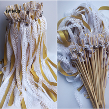 Newest 50pcs/lot White Lace wedding wands with sliver bell for decoration