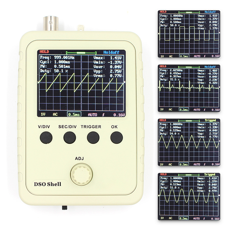 Digital Oscilloscope DIY Kit with Case Fully Soldered Electronic Learning Set 1MSa/s 0-200KHz 2.4 TFT Handheld Pocket-size