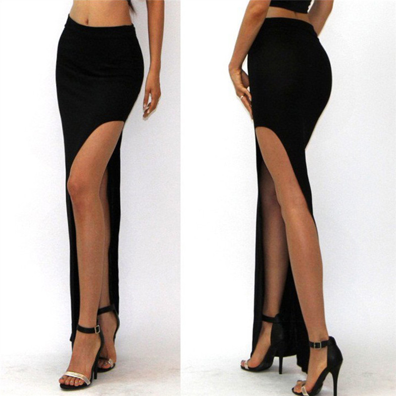 New Skirt Sexy Women Long Skirts Lady Empire Open Side Split Skirt High Waist High Slit Long Maxi Skirts