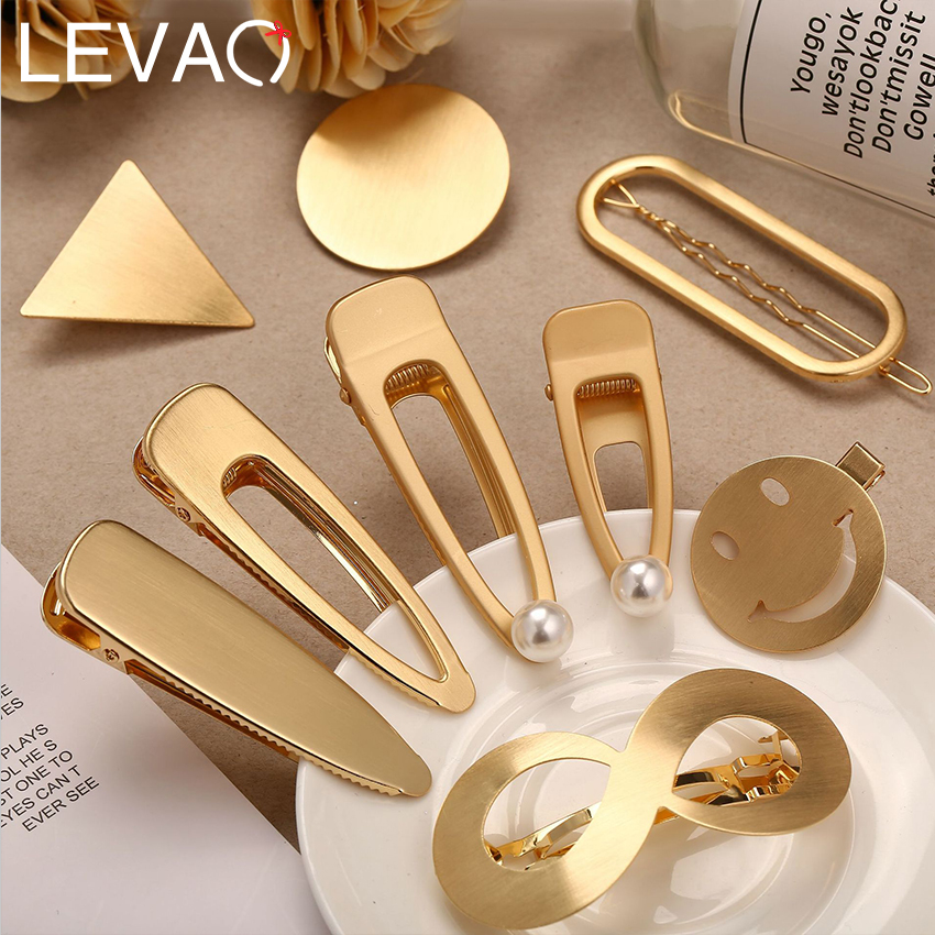Levao Women Metal Snap Hair Clips Hairpins Round/Oval Smile Drop Shape Hairclips BB Clip Snap Clips Hairgrips Barrettes Headwear