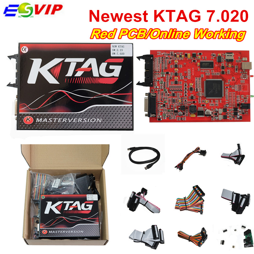 Online Version KTAG 7.020 SW2.23 EU Version Red PCB KESS V5.017 KESS 5.017 SW2.23 V2 Fully Protocols No Token Limited DHL Free