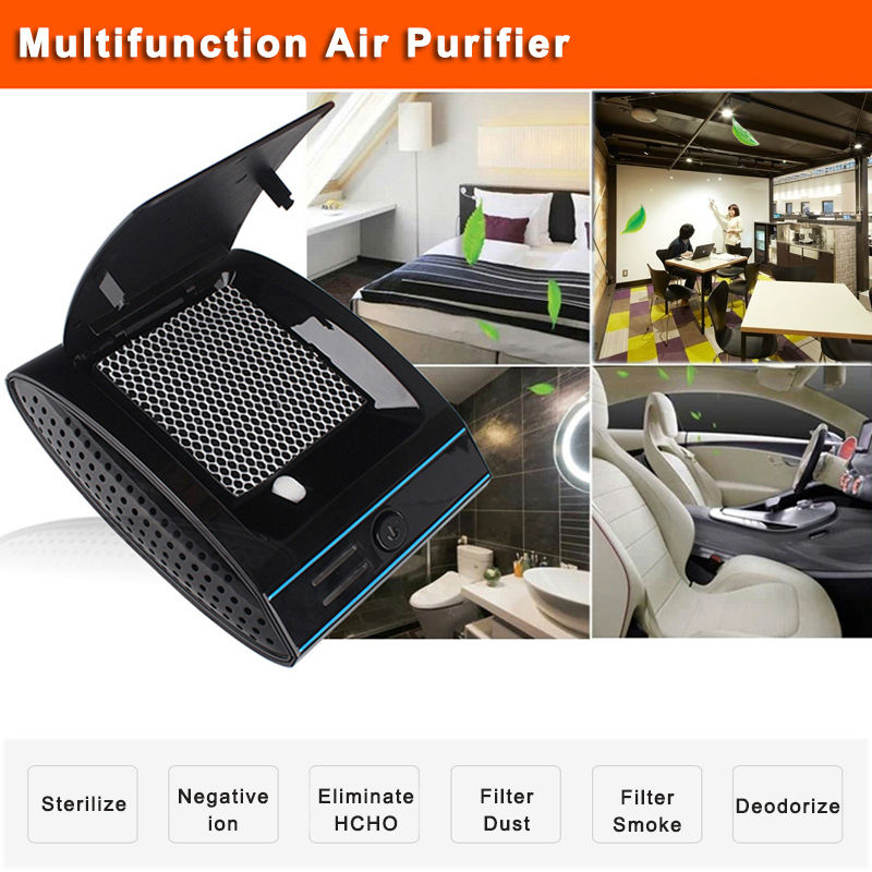 Portable air purifier ionizer clear air car ionic UVC car air freshener machine HEPA filter dust fresh air producer  недорого