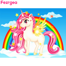 Fezrgea Diamond Painting Crotoon Animal Unicorn Handicraft Mosaic Full Display Fantasy Horse Embroidery Decor